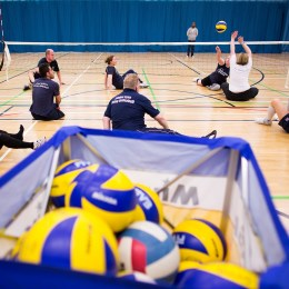 Sitting volleyball in action listing